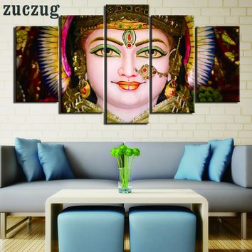 5 Piece Indian Buddha Hindu Statue Oil on Canvas Wall Art - Framed or No Frame Option