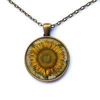 Sunflower necklace Yellow flower pendant Floral jewelry CWAO81-1
