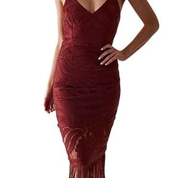 Fashion Tassel Backless Red Lace Dresses
