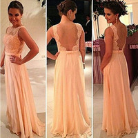 Pink Backless Dress Prom Dress [6338999873]