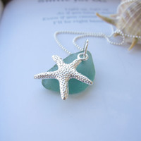 Teal beachglass topped with starfish - Cute nautical Jewelry for a beach lover - FREE SHIPPING