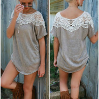 The Sedona Knit Mocha Scoop Neck Tee With Crochet Neckline