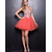 Orange Strapless Diamond Short Dress 2015 Homecoming Dresses