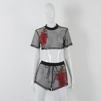 Hot Shorts Women Sexy Mesh Hollow Out Crop Top and  Suit Floral Embroidery High Waist  2 Piece Set Ealstic Waist Casual AT_43_3
