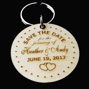 Personalized Wooden Save the Date Key Chain, Custom Engraved Invitation, Rustic Country Wedding Save the Date