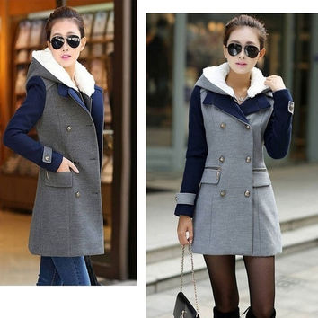 splice 2015 Fashion Women Slim Warm Wool Trench Coat Double Breasted Jacket Outwear Tops
