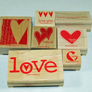 "Stampin Up Stamp Set ""A Light Heart"" Rubber Stamps Weddings, Valentine's Day, I Love You"
