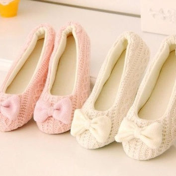 New Cute Girls Women Fashion Knitted Shoes Soft Sole Bowtie Crochet Home Shoes Slippers Dancing Yoga Shoes = 1932621956