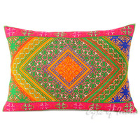 """Green and Pink Moroccan Decorative Pillow Cushion Cover - 20 X 14"""""""