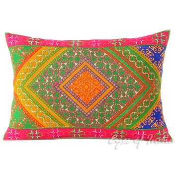 Green and Pink Moroccan Decorative Pillow Cushion Cover - 20 X 14""