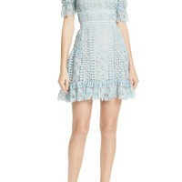 Self-Portrait Puff Sleeve Guipure Lace Dress | Nordstrom