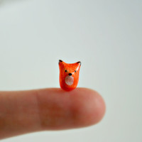 Micro Fox - Hand Sculpted Miniature Polymer Clay Animal