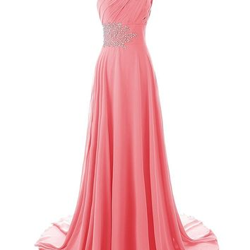 Ubridal Women's One Shoulder Beaded Long Mermaid Bridesmaid Dresses with Train