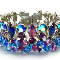 Blue and Amethyst Rhinestone Bracelet, Givre Blue Topaz Amethyst Rhinestones, Spectacular Crystal Dangles, Wedding Jewelry, Special Occasion