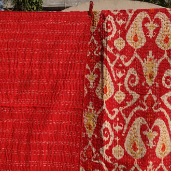 Ikat Kantha Cotton Quilt, Handmade Queen Size Kantha Throw, Red Color Theme, Ikat Print with Hand Kantha Work, Reversible Kantha Bed Cover