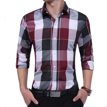Fashion Male Shirt Long-Sleeves Tops Casual Plaid Tide Male Wild Slim Mens Dress Shirts Slim Men Shirt