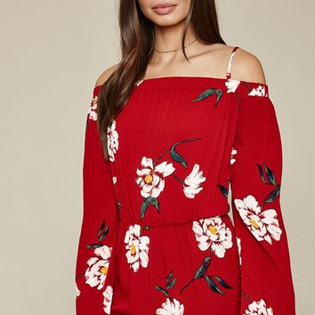 Kendall and Kylie Off-The-Shoulder Ladder Cut Trim Romper at PacSun.com