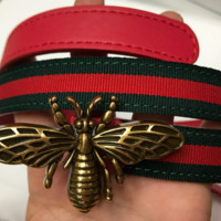 Gucci girls bee fashion belt G buckle belt belt button red diamond belt