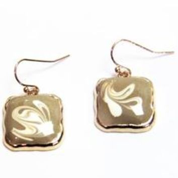 Square Swirl Enamel Earrings