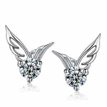 Angel Wings Rhinestone 925 Sterling Silver Earrings Studs Lady Women Jewelry