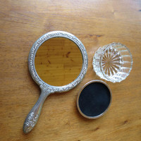 Vintage Silver Plate Hand Mirror Vanity Powder Jar French Repousse Silver Tops Silver and Glass Vanity Set Hand Mirror Glass Vanity Jar