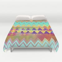 Lacy Camping Dreams  Duvet Cover by Gréta Thórsdóttir  #ethnic #tribal #folklore #ombre #zigzag #lace #mint