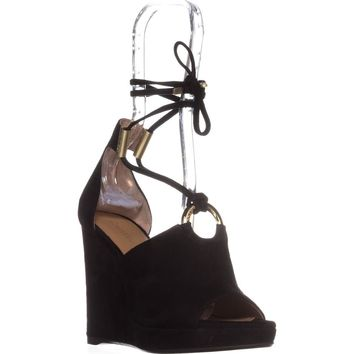Calvin Klein Ramona T-Strap Wedge Sandals, Black Suede, 10 US / 40.5 EU
