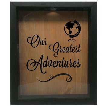 "Wooden Shadow Box Wine Cork Holder 9""x11"" - Our greatest adventures"