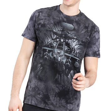 Europe and US Casual T-shirt Men's Cotton Round Collar T-shirt with 3D Tie-Dyed Helicopter Pattern SN9