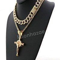 Hip Hop Iced Out Quavo Cylinder Cross Miami Cuban Choker Chain Necklace L11