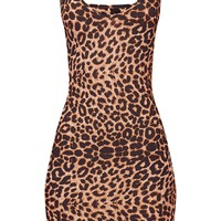 Leopard Print Strappy Plunge Bodycon Dress