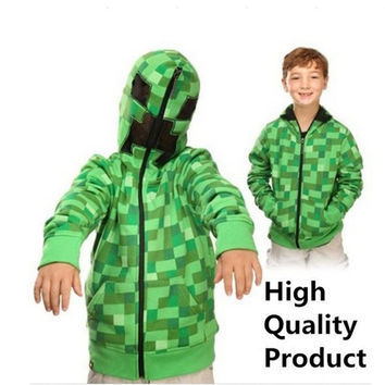 2015 New Creeper Hoodie MINECRAFT Hoodie Creeper Coat Creeper jacket US youth size for kids & boys GREAT QUALITY IN STOCK = 1931600068