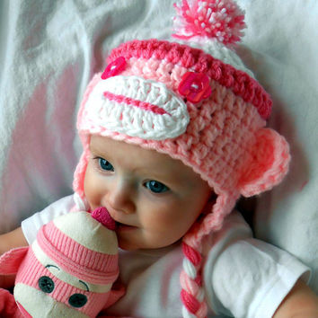 Girl Sock Monkey Hat Pink Monkey Hats Christmas Gift Idea Handmade Baby Cap Stocking Stuffers Girl Clothes Winter Fashion