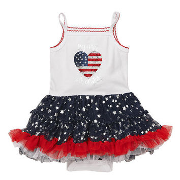 Koala Kids Girls White/Blue 'My First 4th of July' Sequined Sleeveless Tutu Bodysuit