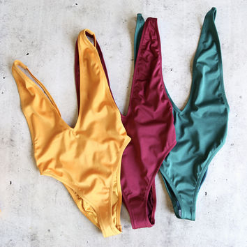metallic high cut low v-neck one piece - more colors