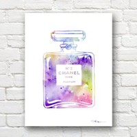 """Chanel No 5"" Abstract Watercolor Art Print By Artist Dj Rogers"