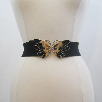 Vintage 70s 80s Belt Butterfly Black Stretch Elastic Cinch M L