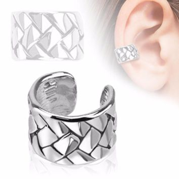 Weave Pattern Rhodium Plated Brass Non Piercing WildKlass Ear Cuff (Sold by Piece)