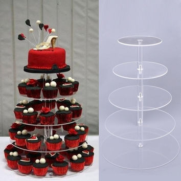 US Sell Crystal Clear Acrylic Round Cake Cupcake Stand Wedding Birthday Display l_l = 1932718724