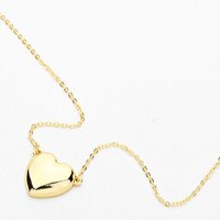 Gold Heart Locket Pendant Necklace