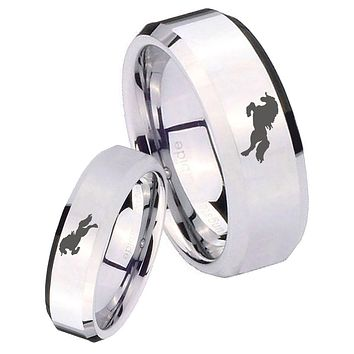 His Her Mirror Beveled Horse Silver Tungsten Wedding Rings Set