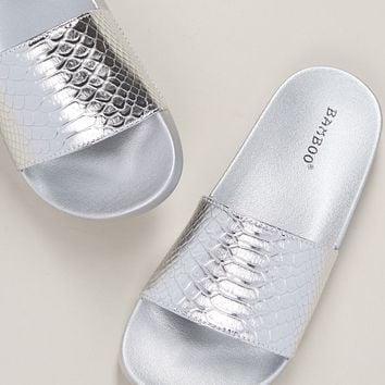 Metallic Snakeskin Wide Band Slide Sandals