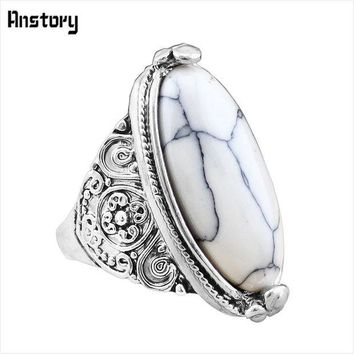DCCKFV3 Flower Band Oval Natural Stone Rings For Women Vintage Look Antique Silver Plated 5 Colors Fashion Jewelry TR362