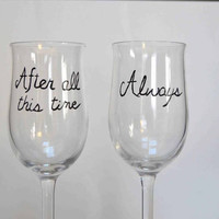 After All This Time.. From Harry Potter Hand Painted Champagne Glasses