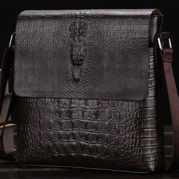 Mens Leather Messenger Bag with Crocodile Pattern