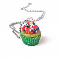 Mint green and yellow cupcake necklace - cute sprinkles cupcake pendant necklace - colorful, sparkly kawaii necklace by Sparkle City Jewelry