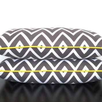 Grey chevron outdoor pillow 21x11, small lumbar cover zigzag print, gray and yellow home decor for indoor outdoor