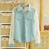 2013 new spring elegant lace sweet chiffon shirt  [274]