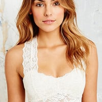 Lace Back Crop Top in Cream - Urban Outfitters