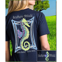 Southern Attitude Preppy Classy Pearls Seahorse Navy T-Shirt